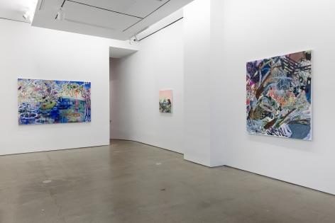 Installation of paintings by Melanie Daniel