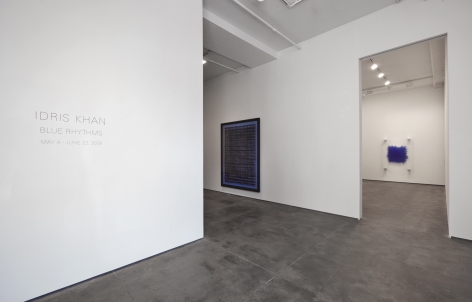 Installation view of Idris Khan: Blue Rhythms at Sean Kelly, New York