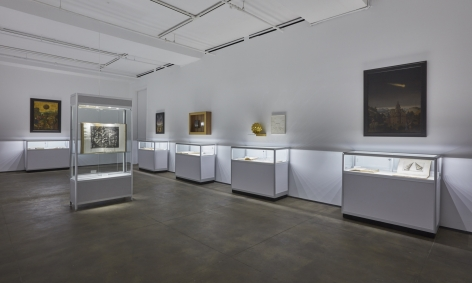 Installation view of Time Perspective: a project by Laurent Grasso at Sean Kelly, New York