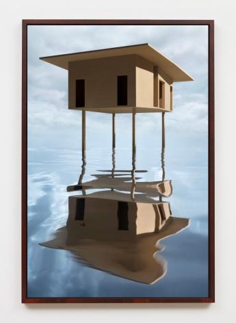 Tan House on Stilts, 2019, framed archival pigment print mounted to dibond