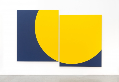Untitled, 2020, vinyl paint on loomstate linen in two parts