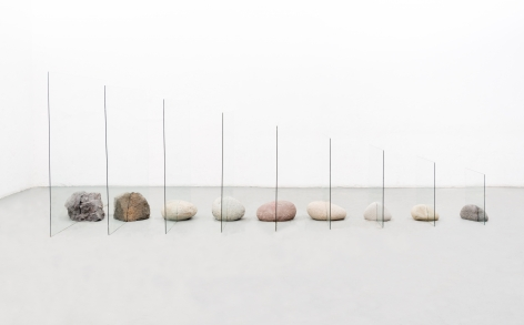 Untitled, 2020, glass and boulders