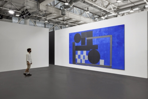 Installation view of '92 Electric Blue Explorer, 2018 by Sam Moyer at Art Basel Unlimited 2018, Booth U18, June 14 - 17, 2018