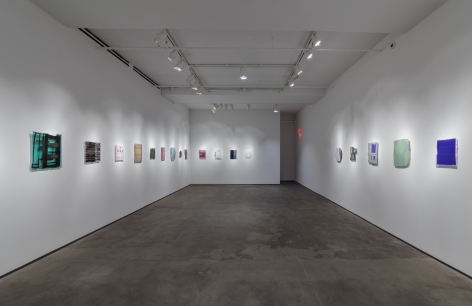 Installation view of Sam Moyer: Naked as the Glass at Sean Kelly, New York