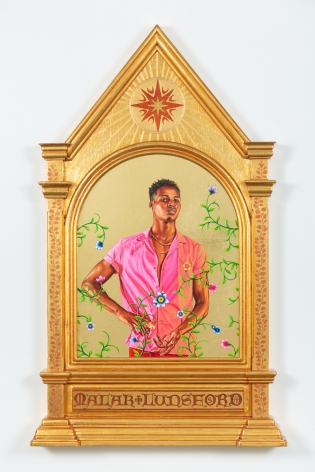 Portrait of Malak Lunsford, 2019, 22 karat gold leaf and oil on wood panel