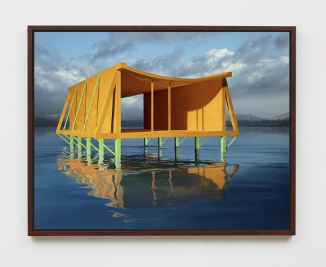 Orange House on Water, 2019, framed archival pigment print mounted to dibond