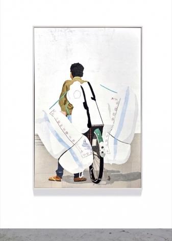 cycle, 2020, plastic merchandise bags on wood panel