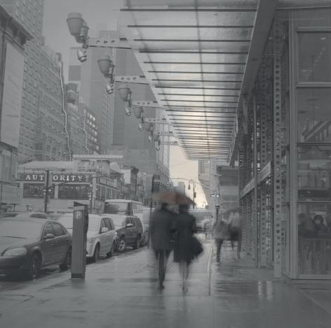 couple with umbrella, midtown manhattan