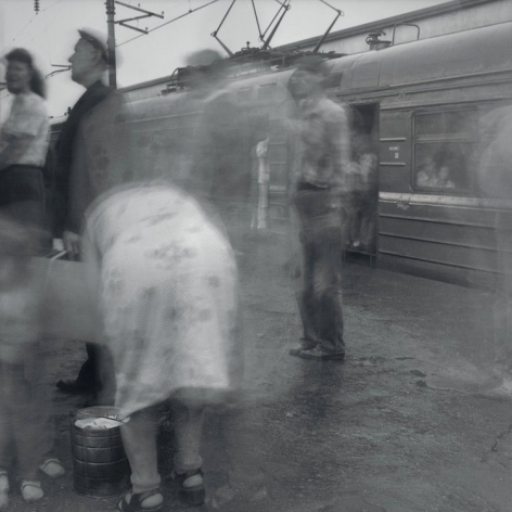 Boarding a Local Train, Kuptchino Railway Station, St. Petersburg, 1993, Toned gelatin silver print