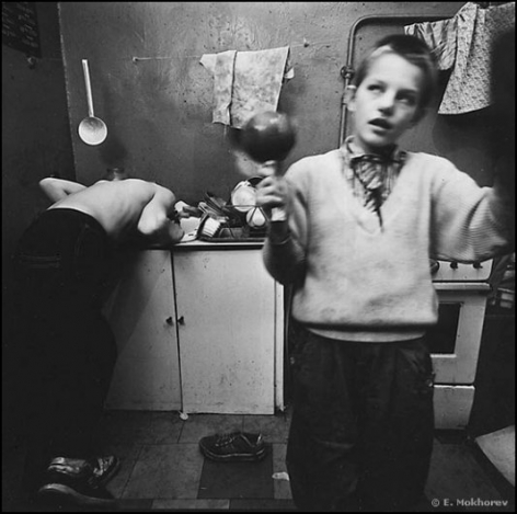 Misha and Tanya, Kitchen of the Temporary Orphanage, Mokhovaya St., 1992