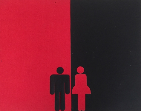 Untitled, 1988, Collage with red linen and black gouache on board