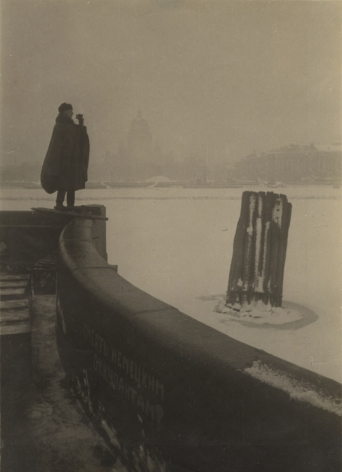 Observation man at the river embankment, Mat window size 8 x 5 1/2 in. (20.3 x 14 cm)
