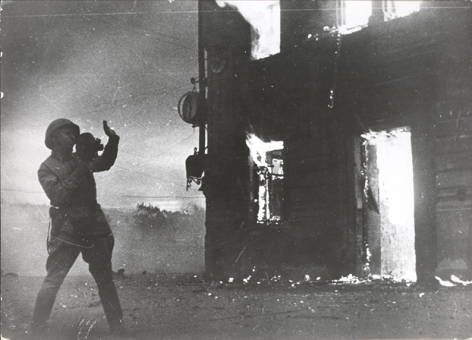 Fires of War and Peaceful Flames (War photographer A. Sofkin films burning train station in Stalingrad), 1942, Gelatin silver print