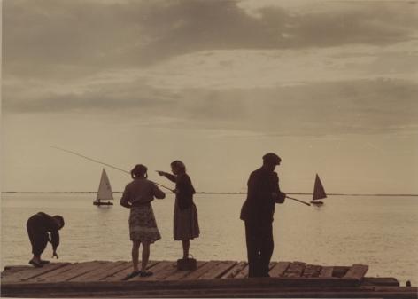 Fishing during white nights, Arkhangelsk, late 1940s, Chromogenic print