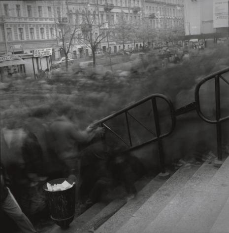 Crowd going to Vasileostrovskaya Metro Station, 1993