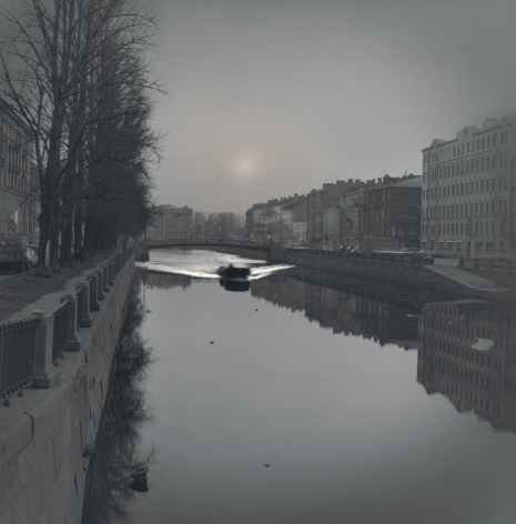 First Boat After the Ice Break, Griboedov Canal, St. Petersburg, 2007, Toned gelatin silver print