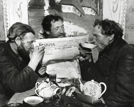 Tea Drinking in the Village of Ramenskoye, 1928, Gelatin silver print mounted on board