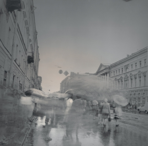 Umbrellas, St. Petersburg, 1995, Toned gelatin silver print