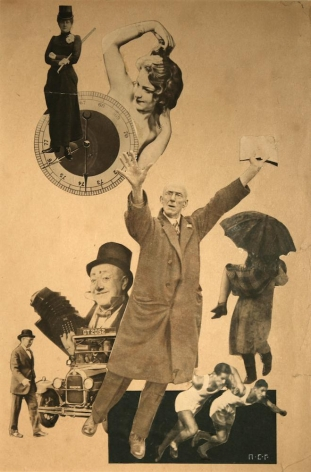 Petr Stepanovic Galadzhev (1900-1971), Collage with Girls, Athletes, and Clowns, c. 1924