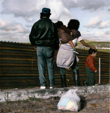 Waiting to Run, Tijuana, 1992, Gelatin silver print with applied oil paint