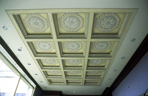 Coffered ceiling with trompe-l'œil painted rosettes, New York, NY