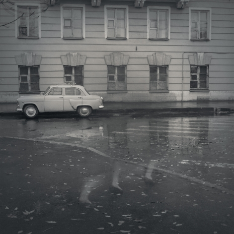 Old-fashioned Moskvitch (cars/feet), St. Petersburg, 1995
