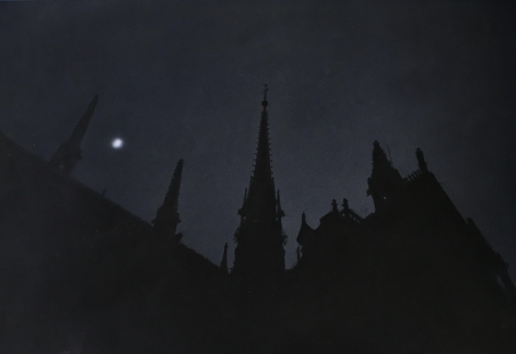 Moon, Notre Dame, 2000, Gelatin silver print with applied oil paint