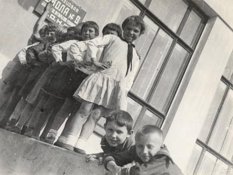 Pioneers from Uritsky School, Moscow,1930sGelatin silver print, printed later6 7/8 x 9 ¼ in. (17.5 x 23.5 cm)Photographer's stamp on verso