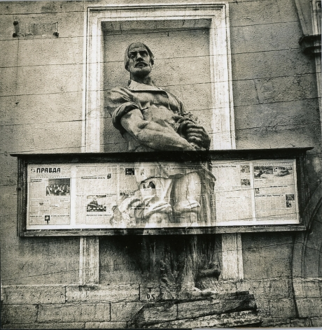 Untitled (a sculpture of a peasant is crucified by pravda (truth) newspaper's stand), c. 1986-1988, Vintage sepia-toned gelatin silver print
