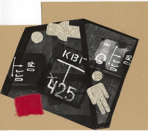 Untitled (KVG 425), 1987, Mounted collage with red linen, newspapers, gouache and gelatin silver print