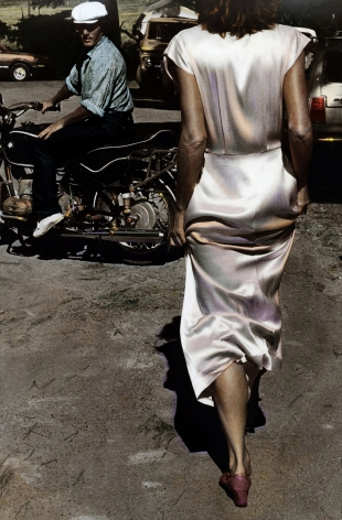 Silk Dress Coming, 1982 painted 2011, Gelatin silver print with applied oil paint