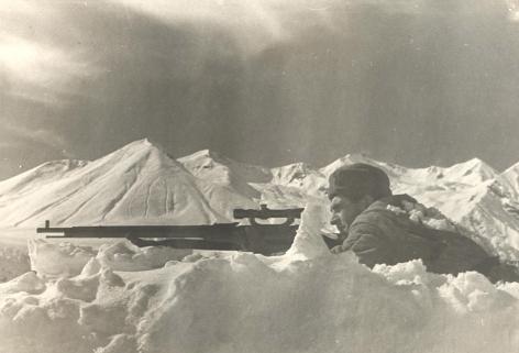 Working army, Northern Caucasus (Sniper Sergei Matar'ian on watch), October, 1942, Vintage gelatin silver print