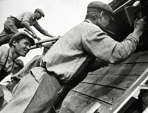 At a Construction Site, 1929, Gelatin silver print mounted on board