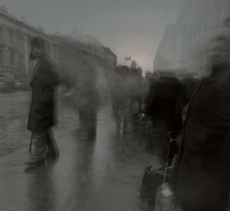 Untitled (Man at the Bus Stop), St. Petersburg, 1994, Toned gelatin silver print
