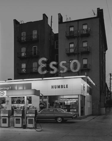 Esso Station and Tenement House, Hoboken, NJ, 1972, Double coated platinum palladium print