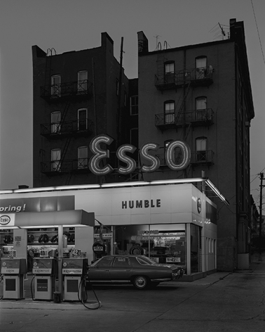 George Tice (b. 1938, Newark), Esso Station and Tenement House, Hoboken, NJ