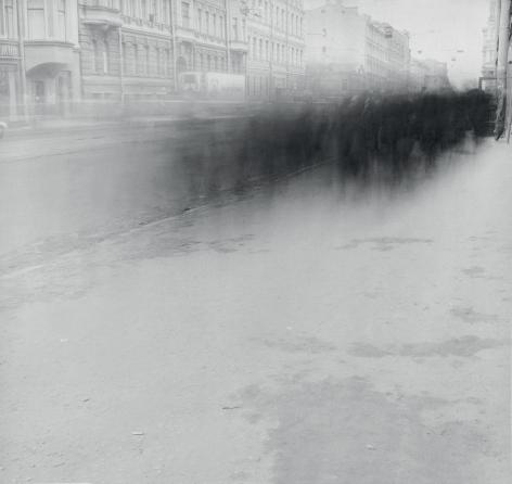 Crowd on Sredniy Prospect (Crowd 3), Saint Petersburg, 1992, Toned gelatin silver print