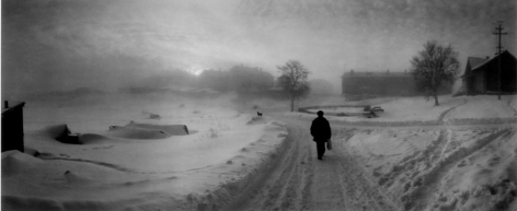 Pentti Sammallahti Solovki, White Sea, Russia (man on snowy road), 1992