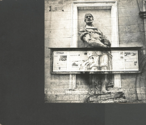 Untitled (a sculpture of a peasant is crucified by pravda (truth) newspaper's stand), 1987, Unique mounted photomontage with gelatin silver print