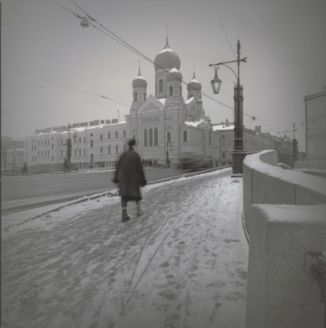 Mogilevsky Bridge across the Griboedov Canal with the Church of St. Isidor, St. Petersburg, 2009, Toned gelatin silver print