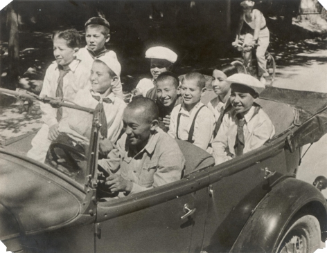 Youth and Kids in Car, ca. late 1920s-early 1930s, Vintage gelatin silver print