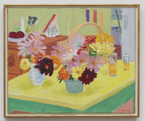 Nell Blaine Yellow Table with Flowers, 1974