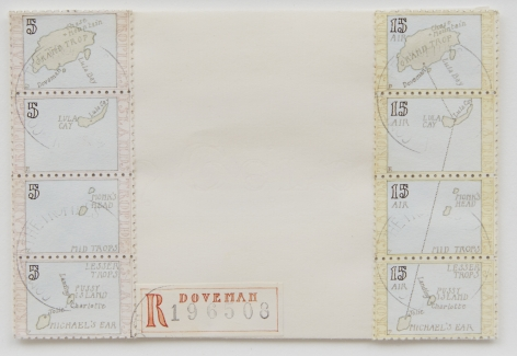 Donald Evans 1965. Airpost. Map of the Tropides Islands. Inscribed with inter-island route of the Tropides Air Service, 1977