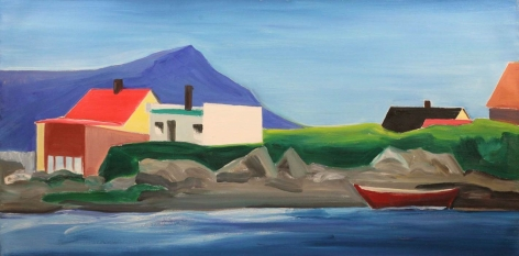 Icelandic Village Scene with Boat 