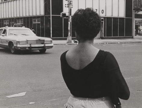 Rudy Burckhardt Untitled, New York (woman on 23rd Street, seen from behind, taxi crossing street), 1985