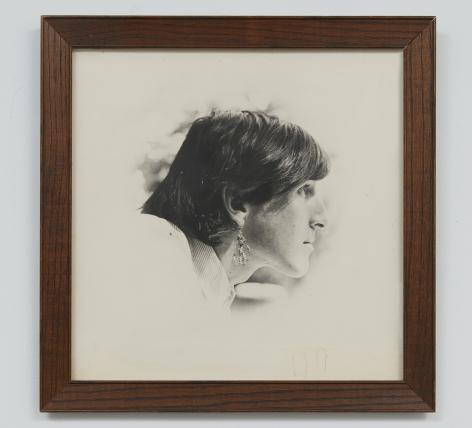 Patricia Jordan Wallace Berman wearing an earring by Jay DeFeo, n.d.