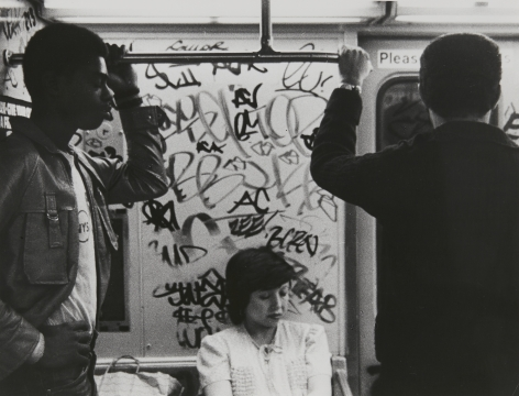 Rudy Burckhardt Subway, New York (two standing men on either side of a seated woman), c. 1985