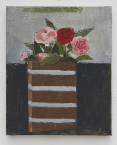 Janice Biala Roses sur Fond Gris et Noir, 1987