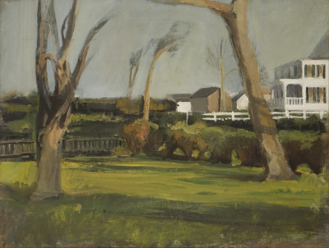 Fairfield Porter, Southampton Backyards, 1954