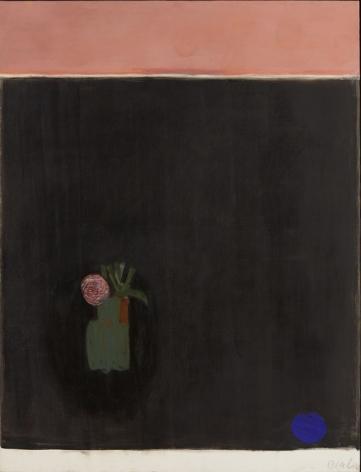 Vase fond noir, faude rose en haut (la Rose), 1976